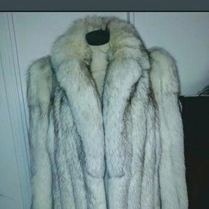 Real SAGA FOX Crystal Silver Fox Fur Coat Jacket S
